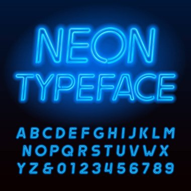 Blue neon tube alphabet typeface. Neon color capital letters and numbers. Stock vector font for your design.