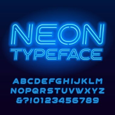 Blue neon tube alphabet typeface. Neon color oblique letters and numbers. Stock vector font for your design.