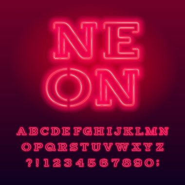 Red neon tube alphabet typeface. Neon color serif letters and numbers. Stock vector font for your design.