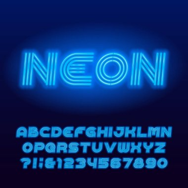 Neon tube alphabet font. Blue neon color uppercase letters and numbers. Stock vector typescript for your design.
