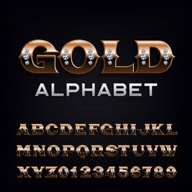 Ornate gold alphabet font. Fancy golden letters and numbers with diamonds. Stock vector typescript for your typography design.