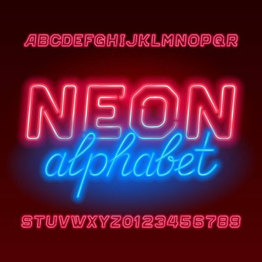 Red neon tube alphabet font. Neon color uppercase oblique  letters and numbers. Stock vector typescript for your design.