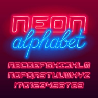 Red neon tube alphabet font. Neon color futuristic letters and numbers. Stock vector typescript for your design.
