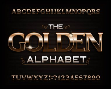 Golden alphabet font. Serif gold effect letters, numbers and symbols. Stock vector typescript for your design.