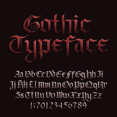 Gothic font alphabet font. Blackletter fracture letters symbols and numbers. Stock vector typescript for your design.