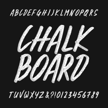 Chalk board alphabet font. Handwritten uppercase letters and numbers. Stock vector typescript.