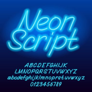 Neon script alphabet font. Blue color lowercase and uppercase shiny letters and numbers. Stock vector typescript for your typography design.