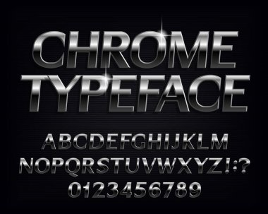 Chrome alphabet font. Metallic effect shiny letters and numbers. Stock vector typescript for your typography design.