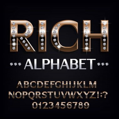 Rich alphabet font. Ornate golden letters and numbers with diamond gemstones. Stock vector typescript for your design.