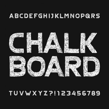 Chalk board alphabet font. Hand drawn uppercase letters and numbers. Stock vector typescript for your typography design.