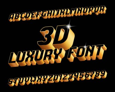 3D luxury alphabet font. Three-dimensional effect letters and numbers in black and golden. Stock vector typography for your design.