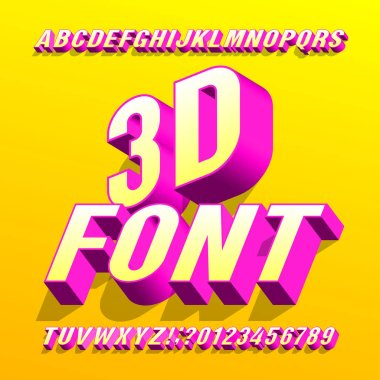 3D font. 3d effect bright letters and numbers with shadows. Stock vector alphabet typeface for your typography design.