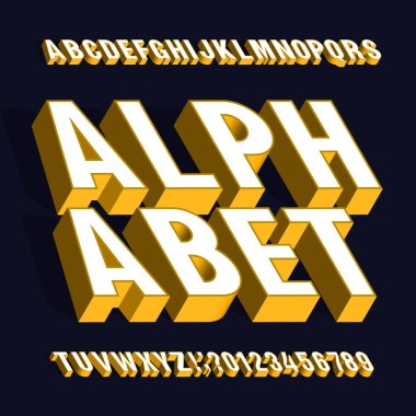 3D alphabet font. 3d effect letters and numbers in white and yellow with shadows. Stock vector typescript for your typography design.
