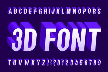 3D isometric alphabet font. 3d effect letters and numbers. Stock vector typeface for your design.