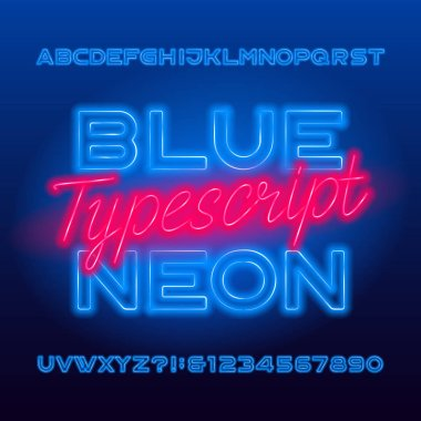 Blue Neon typescript. Blue color light bulb capital letters and numbers. Stock vector alphabet font for your typography design.