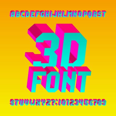 3D isometric alphabet font. 3d effect bright letters and numbers. Stock vector typescript for your design.