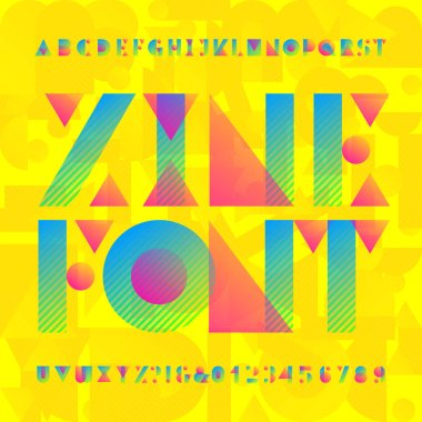 Zine geometric alphabet font. Bright colorfull type letters and numbers. Stock vector typescript for your design.