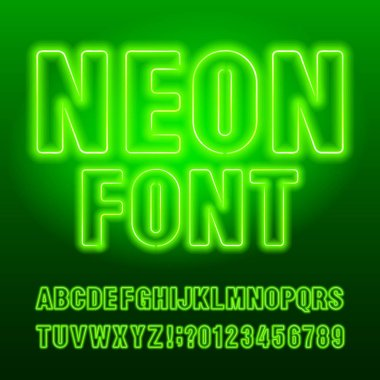 Green neon typescript. Green color light bulb capital letters and numbers. Stock vector alphabet font for your typography design.