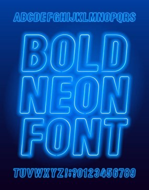 Bold neon alphabet font. Blue color light bulb oblique letters and numbers. Stock vector typeface for your typography design.