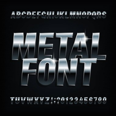 Metal alphabet font. Chrome effect bold letters and numbers. Stock vector typescript for your typography design.