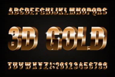 3D gold alphabet font. Golden effect letters and numbers. Stock vector typescript for your design.
