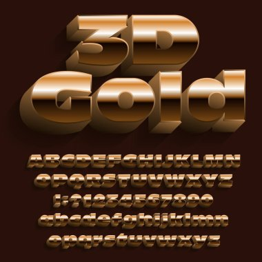 3D gold typeface font. Golden effect letters and numbers with shadow. Uppercase and lowercase letters. Stock vector alphabet for your design.