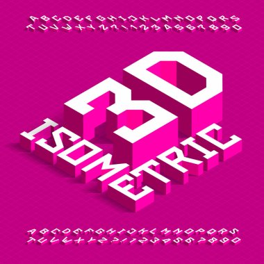 3D isometric alphabet font. 3d effect geometric letters and numbers with shadow. Stock vector typescript for your design.