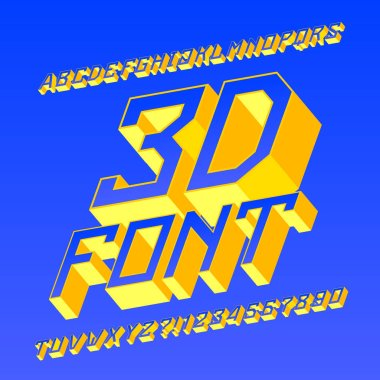 3D alphabet font. 3d effect geometric letters and numbers. Stock vector typescript for your design.