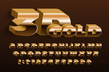 3D gold typeface font. Golden effect wide letters and numbers. Uppercase letters. Stock vector alphabet for your design.