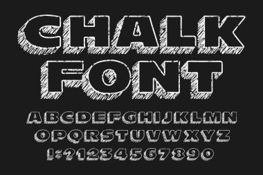 Chalk board alphabet font. Handwritten messy wide letters and numbers. Stock vector typescript.