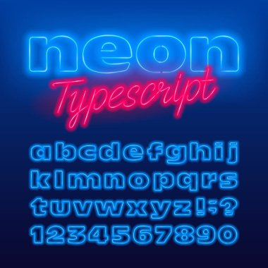 Wide neon alphabet font. Blue neon color light bulb lowercase letters and numbers. Stock vector typeface for your typography design.