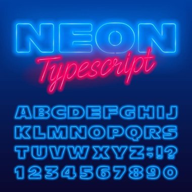 Wide neon alphabet font. Blue neon color light bulb uppercase letters and numbers. Stock vector typeface for your typography design.