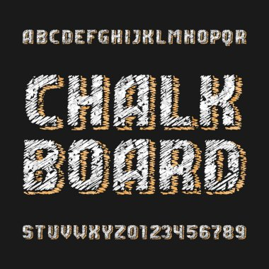 Chalk board alphabet font. Handwritten messy letters and numbers with drawn shadows. Stock vector typescript.