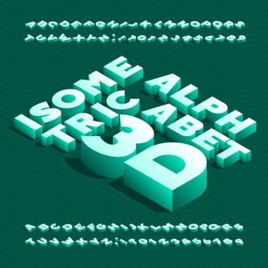 3D isometric alphabet font. 3d effect bold letters and numbers with shadow. Stock vector typescript for your design.