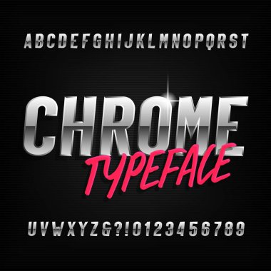Chrome alphabet typeface. Chrome effect condensed letters and numbers. Stock vector font for your typography design.