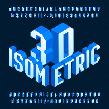3D isometric alphabet font. 3d effect geometric letters, numbers and symbols. Stock vector typescript for your design.