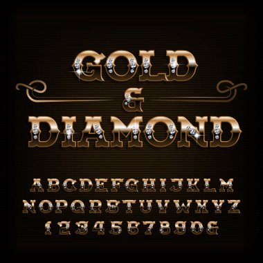 Gold & diamond alphabet font. Ornate golden letters and numbers with diamond gemstone. Stock vector typescript for your design.