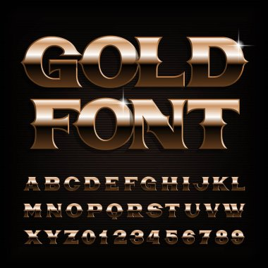 Vintage Gold alphabet font. Beveled letters and numbers. Stock vector typeface for your typography design.