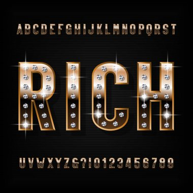 Rich alphabet font. Ornate golden beveled letters and numbers with diamond gemstones. Stock vector typescript for your design.