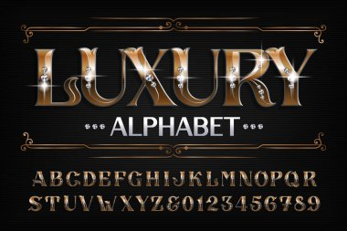 Luxury alphabet font. Ornate golden letters and numbers with diamond gemstones. Stock vector typescript for your design.