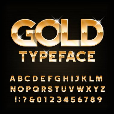 Gold alphabet typeface. Beveled shiny letters and numbers. Stock vector font for your typography design.