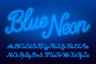 Blue Neon alphabet font. Blue neon color lowercase and uppercase script letters. Stock vector typeface for your typography design.