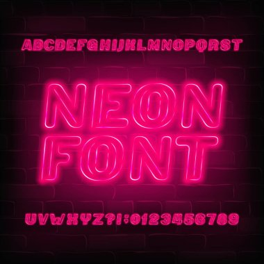 Red neon alphabet font. Neon color light bulb oblique letters and numbers. Stock vector typeface for your typography design.