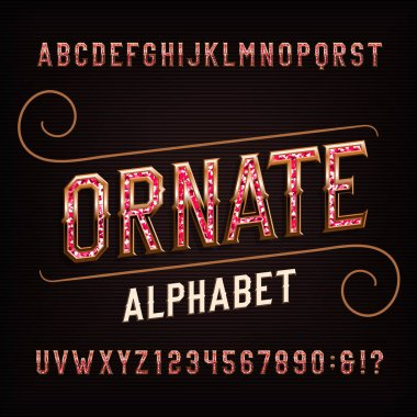 Ornate alphabet font with gemstones. Vintage golden letters and numbers. Stock vector typeface for your design.