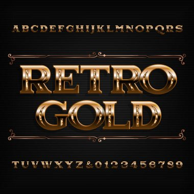 Retro Gold alphabet font. Beveled ornate letters and numbers. Stock vector typescript for your design.