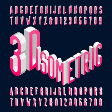 3D isometric alphabet font. 3d effect condensed letters, numbers and symbols. Stock vector typescript for your design.