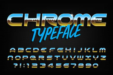 Chrome alphabet font. Chrome effect modern letters and numbers. Stock vector typeface for your typography design.