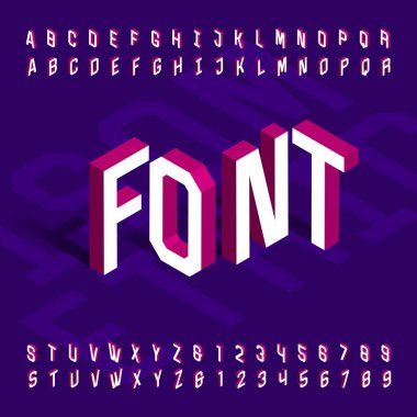 3D isometric alphabet font. 3d effect geometric letters and numbers. Stock vector typeface for your design.