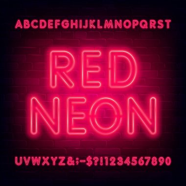 Red neon alphabet font. Simple light bulb letters and numbers. Stock vector typeface for your typography design.