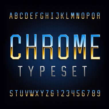 Chrome alphabet font. Chrome effect thin letters and numbers. Stock vector typeface for your typography design.